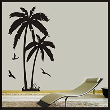 Palm Tree With Birds   Wall Art Vinyl Sticker Decal Wall Beach Hawaii Decor  Tropical Vinyl
