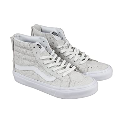 73681e4a4e1dca Image Unavailable. Image not available for. Color  Vans Sk8 Hi Slim Zip  Crackle Suede White ...
