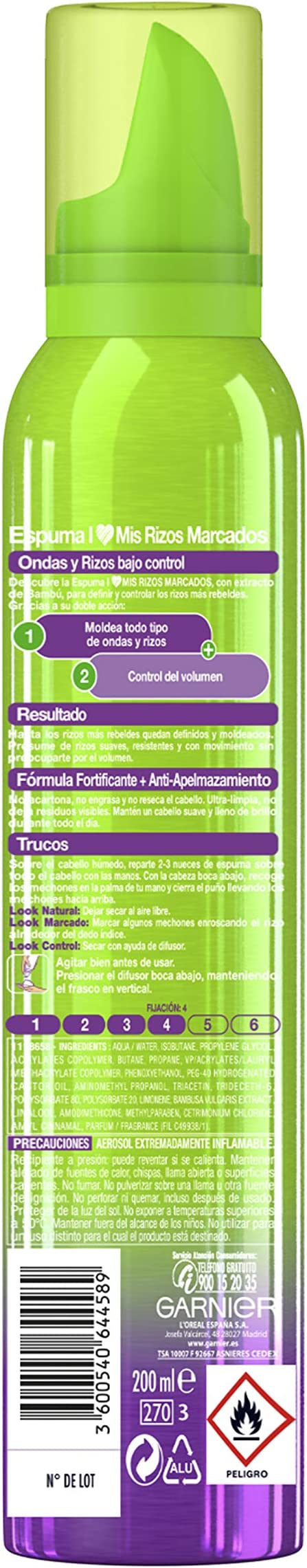 Garnier Fructis Style Espuma Big Volume Volumen XXL - 200 ml: Amazon.es: Belleza
