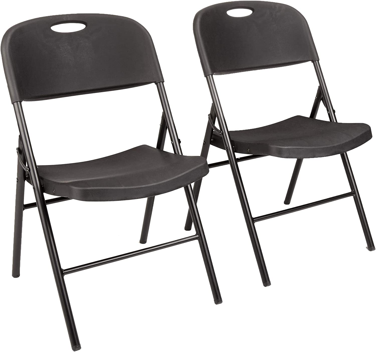 Amazon Com Amazon Basics Folding Plastic Chair 350 Pound Capacity Black 2 Pack Furniture Decor