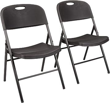 Amazon Com Amazon Basics Folding Plastic Chair 350 Pound Capacity Black 2 Pack Furniture Decor