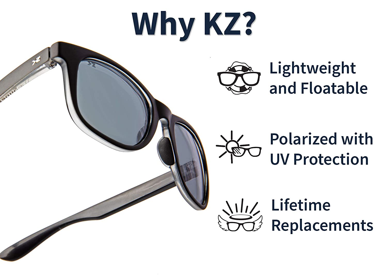 ac23c0e0cd23 Amazon.com: KZ Gear - The Amazon FLOATING SUNGLASSES - Medium Glossy Black  Frame - Classic Modern Shaped - Green Polarized UV400 Lenses: Clothing
