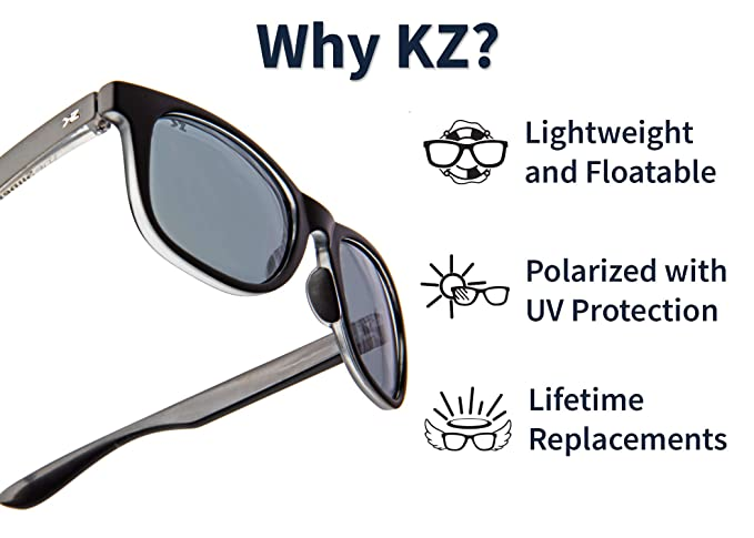 f9befd76c8e8 Amazon.com: KZ Gear - The Amazon FLOATING SUNGLASSES - Small Glossy Black  Frame - Classic Modern Shaped - Green Polarized UV400 Lenses: Clothing
