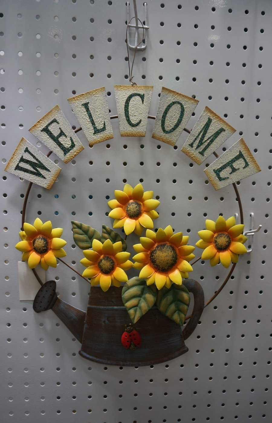 hadaaya gifts & home decor Garden Themed Metal Welcome Sign, Shabby Chic, with Sunflower and Growing Form a Watering can Design