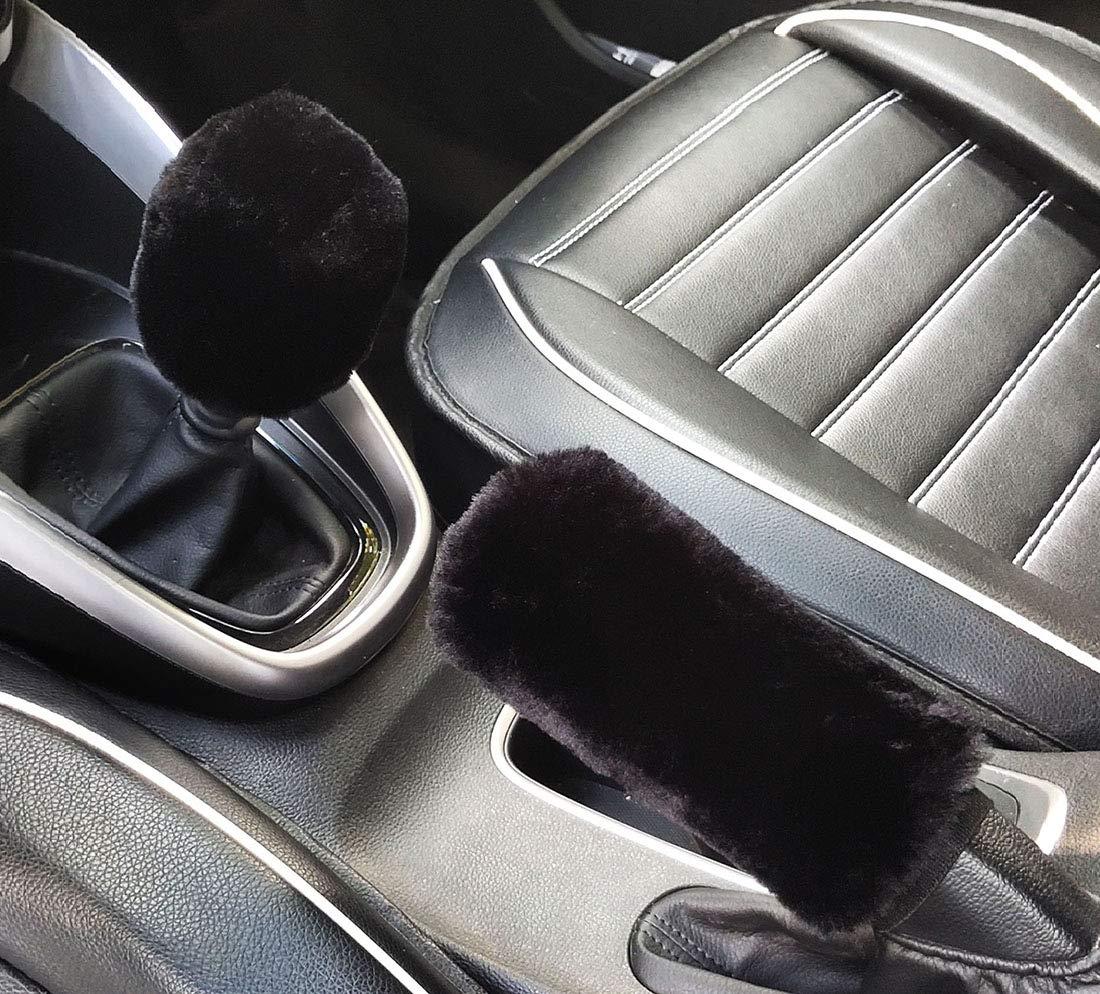 Automatic, wine red/&gray 3Pcs Set Winter Fashion Faux wool Steering Wheel Cover,Handbrake Cover,Gear Shift Cover Universal Warm Plush car Interior