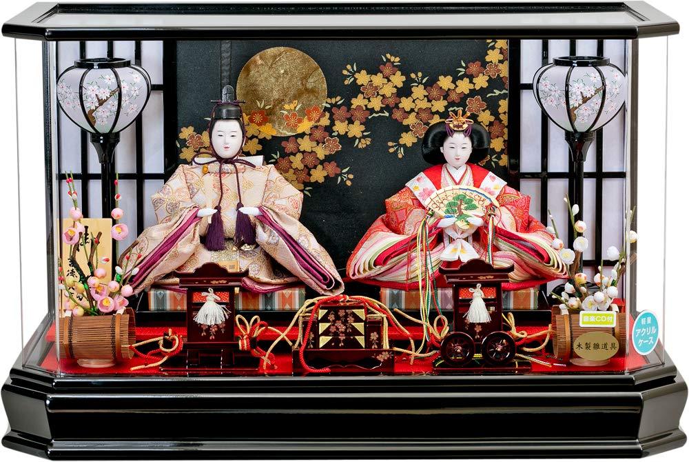 吉徳 雛人形 ひな人形 アクリル 六角親王アクリルケ-ス飾り 親王飾り 小三五親王 間口61×奥行34×高さ38cm   B07L6VJX6D