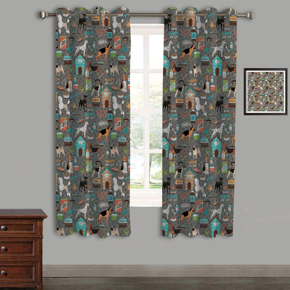 AngelSept Lovely Children Curtains Drapes,Polyester Curtains Panels,2 Panels,105'' Wx45 L,Dog Lover,Paw Printed Background with Pet Canine Accessories Balls Carry Bags Leash Food Bowl,Multicolor