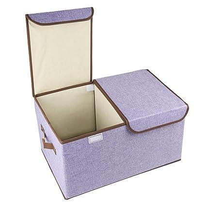 Cubos de almacenamiento plegables, COKOSIM Tela Lino Bin doble tapas cajas de almacenamiento plegable con