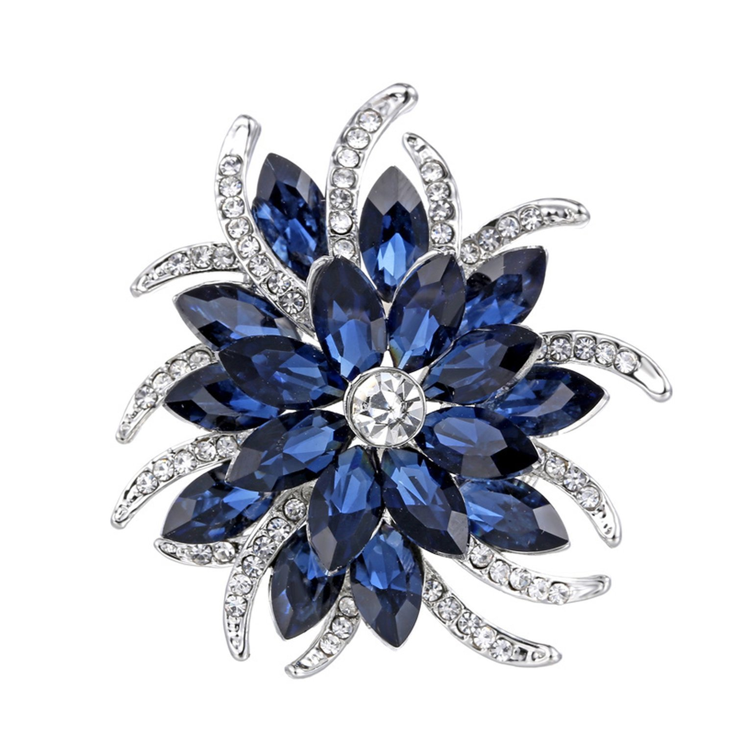 Crystal Brooch Pins Women Purple Flower Broches Stainless Steel Jewelry Fashion Wedding Party Brooch