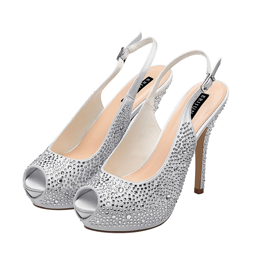 0922e52720 ERIJUNOR Women High Heel Peep Toe Rhinestones Slingback Platform Pumps  Wedding Evening Dress Shoes