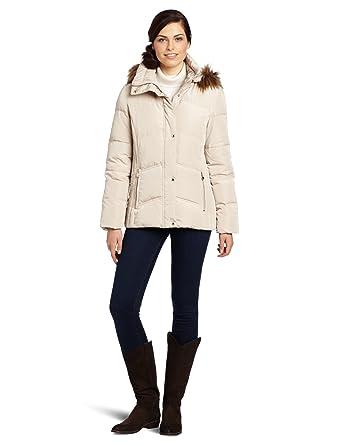 8b02ef157 Amazon.com: Calvin Klein Women's Faux Fur Trim Short Down Jacket ...