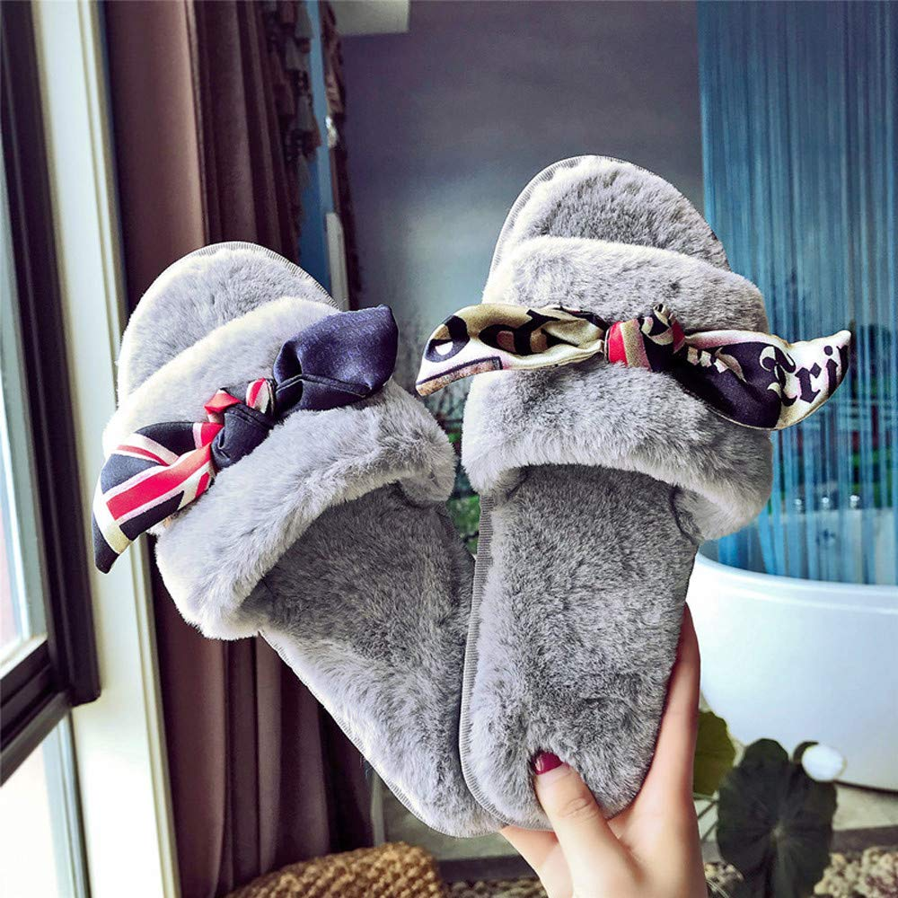 Frog Fun//Top.Selling Sandal Womens Ladies Slip On Sliders Fluffy Faux Fur Flat Slippers Flip Flop Sandals