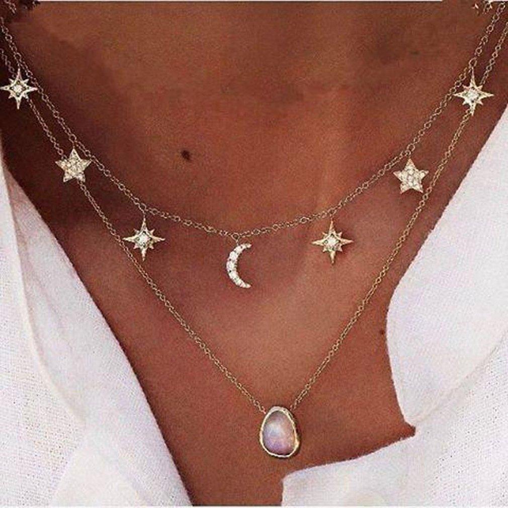 meolin Double Layer Moon Starチャームチョーカーネックレスの女性 B07BT6RRGB