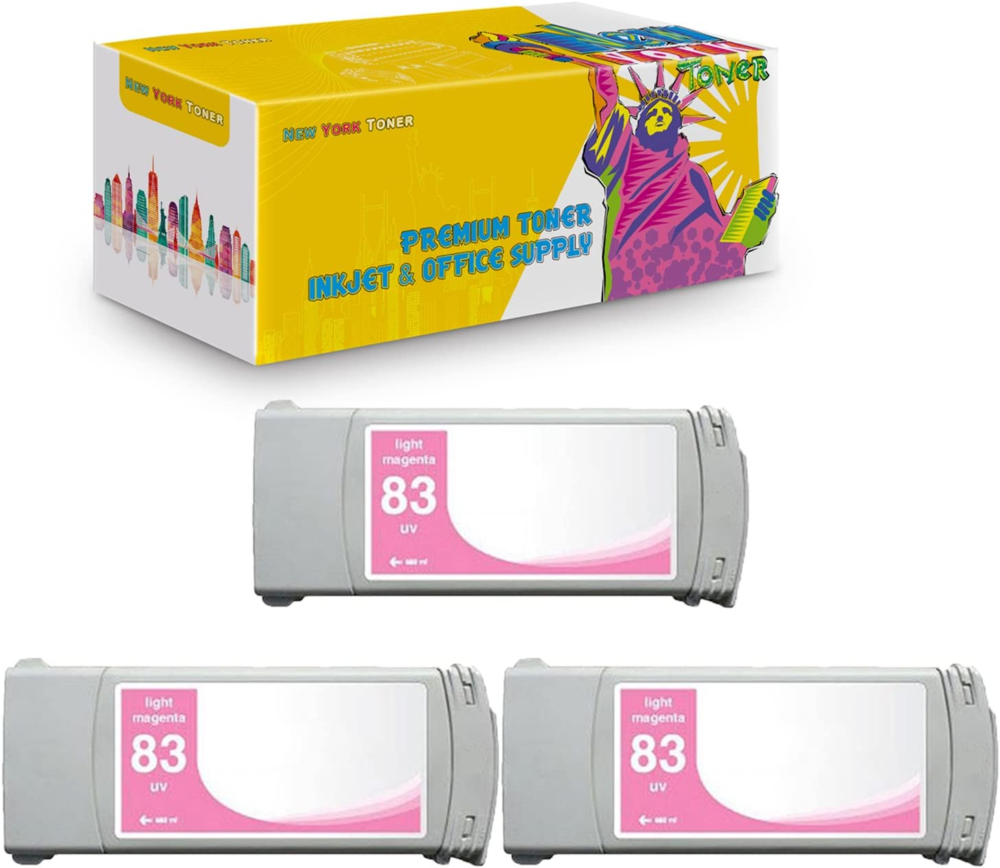 Light Magenta, 3-Pack NYT Compatible High Yield Inkjet Cartridge Replacement for C4945A #83 for HP DesignJet 5000 5500