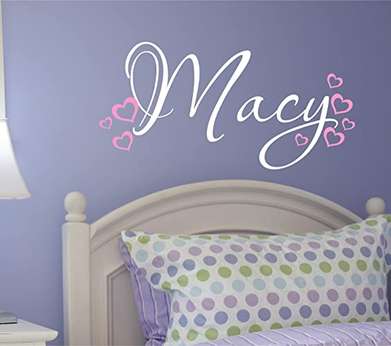 Marvelous Nursery Wall Decal   Personalized Name Wall Decal With Hearts Part 28