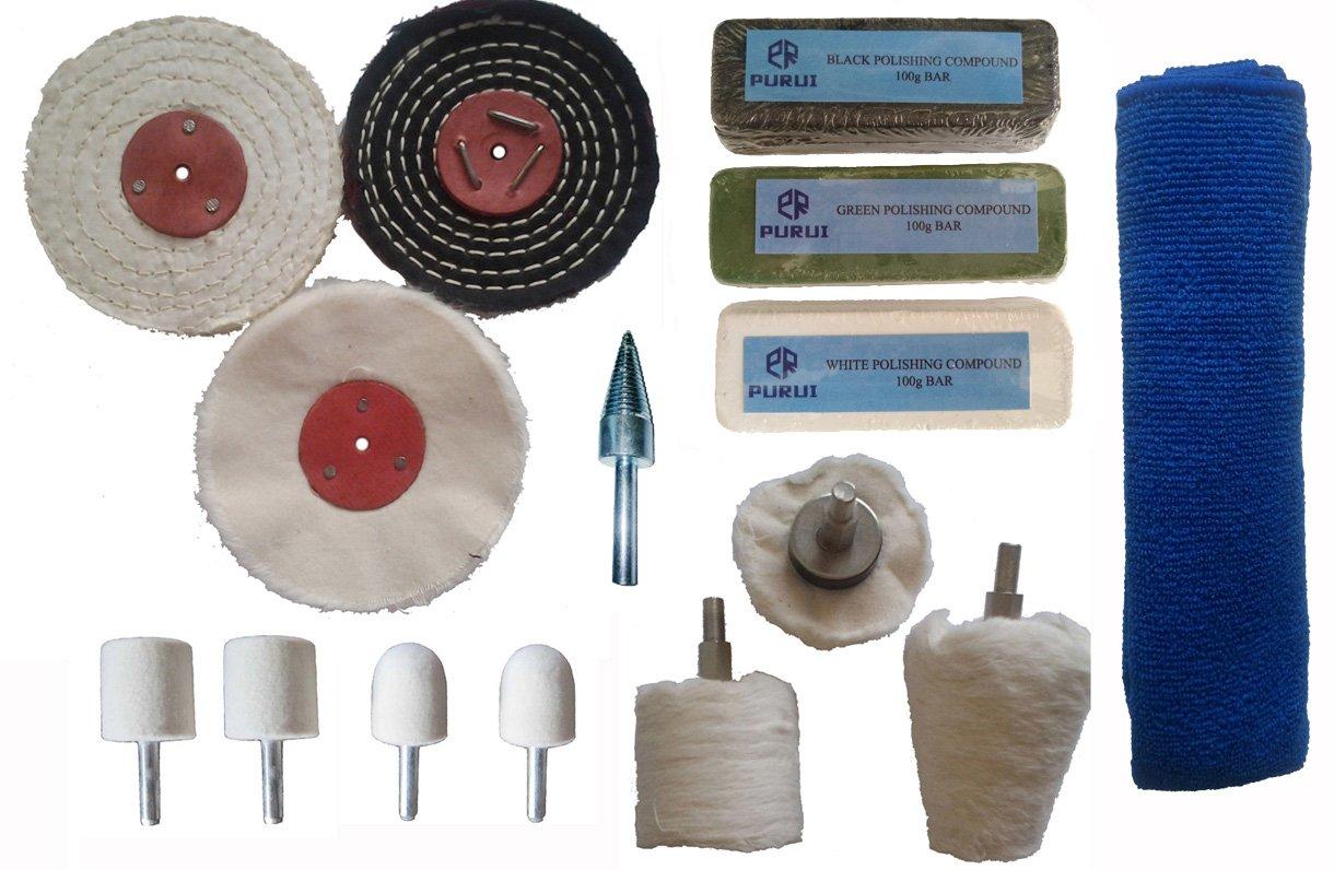 Purui 15pc Steel & Stainless Steel Metal Polishing Kit Fits Drill(4'' x1/2'')