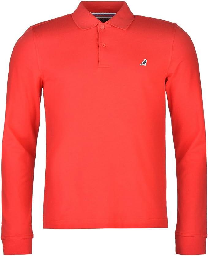Kangol Brit Long Sleeve Polo Shirt Mens Bright Red Small: Amazon ...