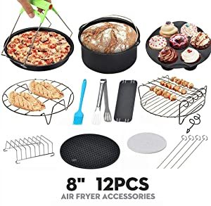 8 inch Air Fryer Accessories for Gowise USA Cozyna Airfryer XL 5.3QT – 5.8QT, Deluxe Deep Fryer Accessories Set of 8/12 (12)