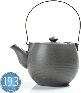 TEANAGOO TP03, Ceramic Teapot with Infuser and Metal Handle, 19 oz, Jun Ware, Grey, Chinese Porcelain Unique Asian Adult Kongfu Japan Loose Leaf Tea Stove