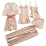 Women Lace Pajamas Sets Satin Women Sexy Underwear Robe Sleepwear Kit Sleeveless Nightwear Pijama Mujer