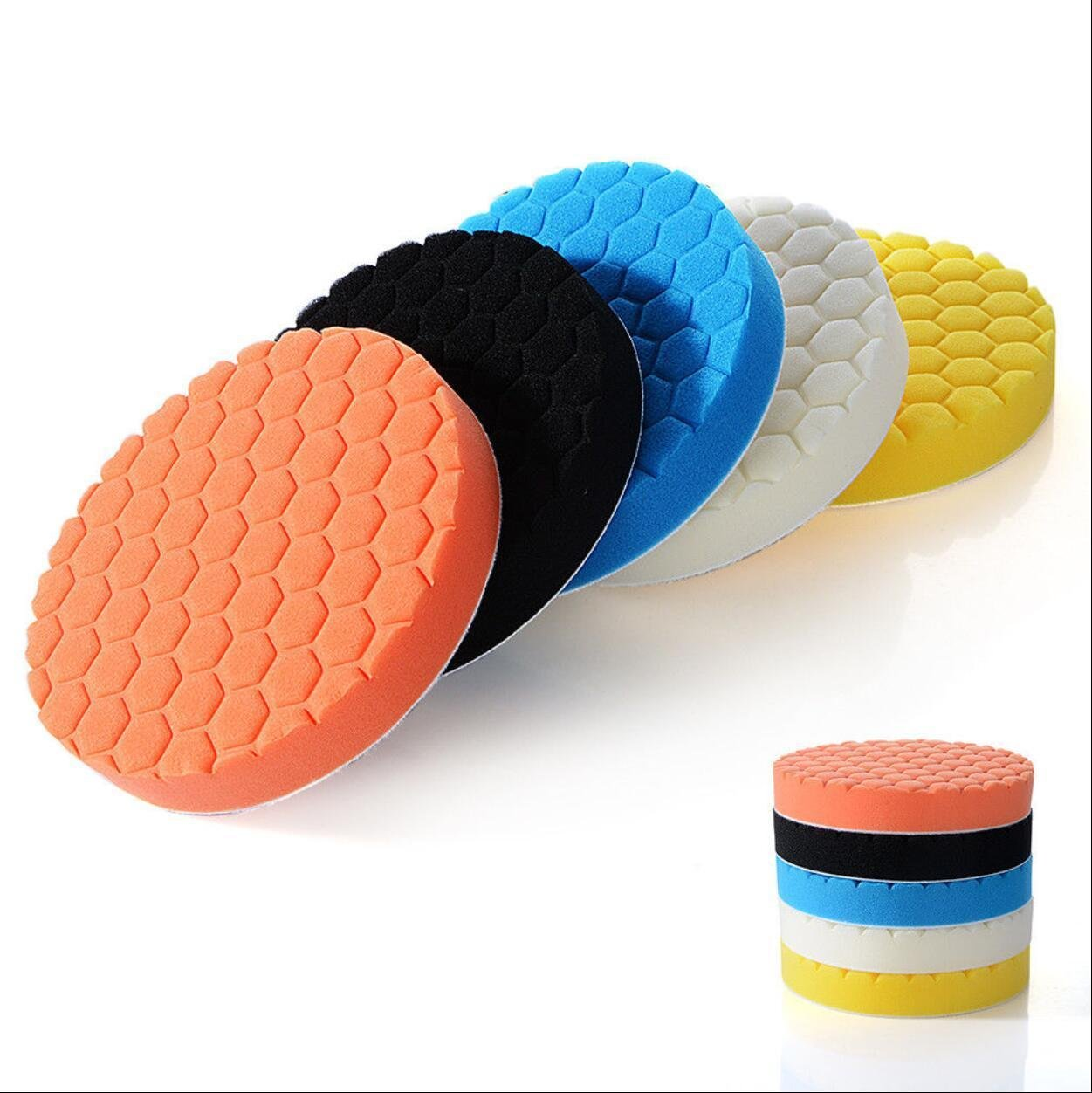 FENGLANG 5PCS Brand New 3' 80mm/4' 100mm/5 125mm/6 150mm/7 180mm Car Polishing Pads Waxing Buffing Pad Sponge Kit Set for Car Polisher Buffer Waxer Sander Polishing Waxing Sealing Glaze(7 inch/18cm) YiWuShi FenLang Unternehmen