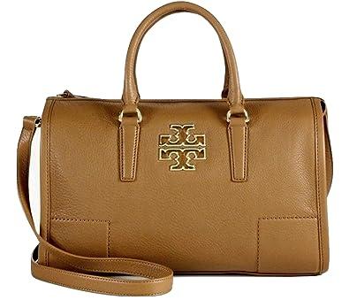 0e1a0dbe7af3 Tory Burch Leather Britten Satchel Bag - Bark  Handbags  Amazon.com