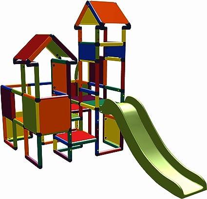 move and stic Castillo Moritz 6524 con tobogán, torre de escalada multicolor, adecuado para la habitación de los niños, sala de juegos o también al ...