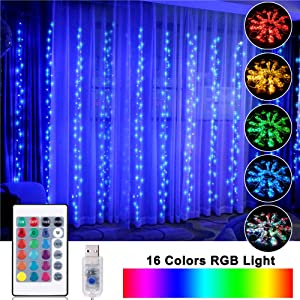 OPOLEMIN Window Curtain Lights Color Change Curtain String Lights of 300 RGB USB Powered, 16 Lighting Colors 4 Light Shows 9.84x9.84ft Rainbow Starry Lights for Bedroom Valentine's Day Weddings