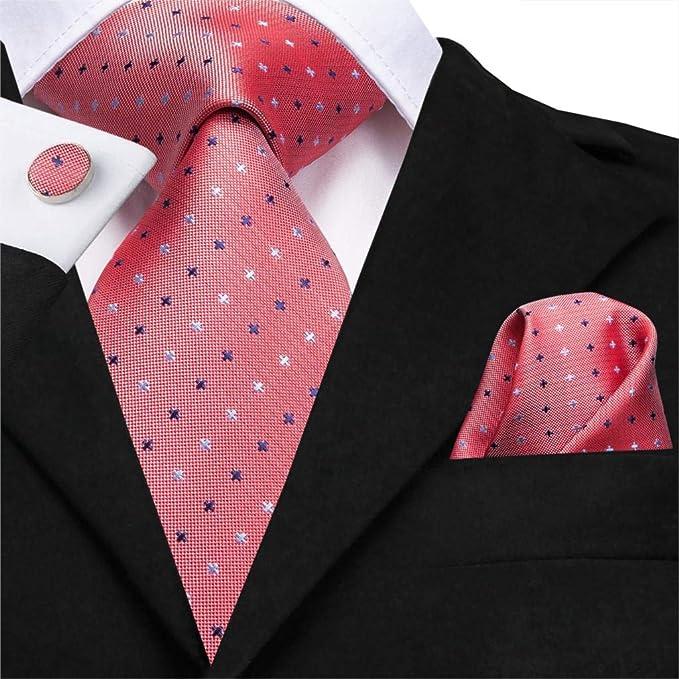 FDHFC 8.5 Cm 100% Seda De Los Hombres Corbata Coral Pink Dot Lazos ...