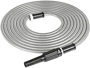 TINVHY 75FT Stainless Steel Garden Hose Water Pipe Flexible Lightweight for Watering Yard Lawn Car Wash