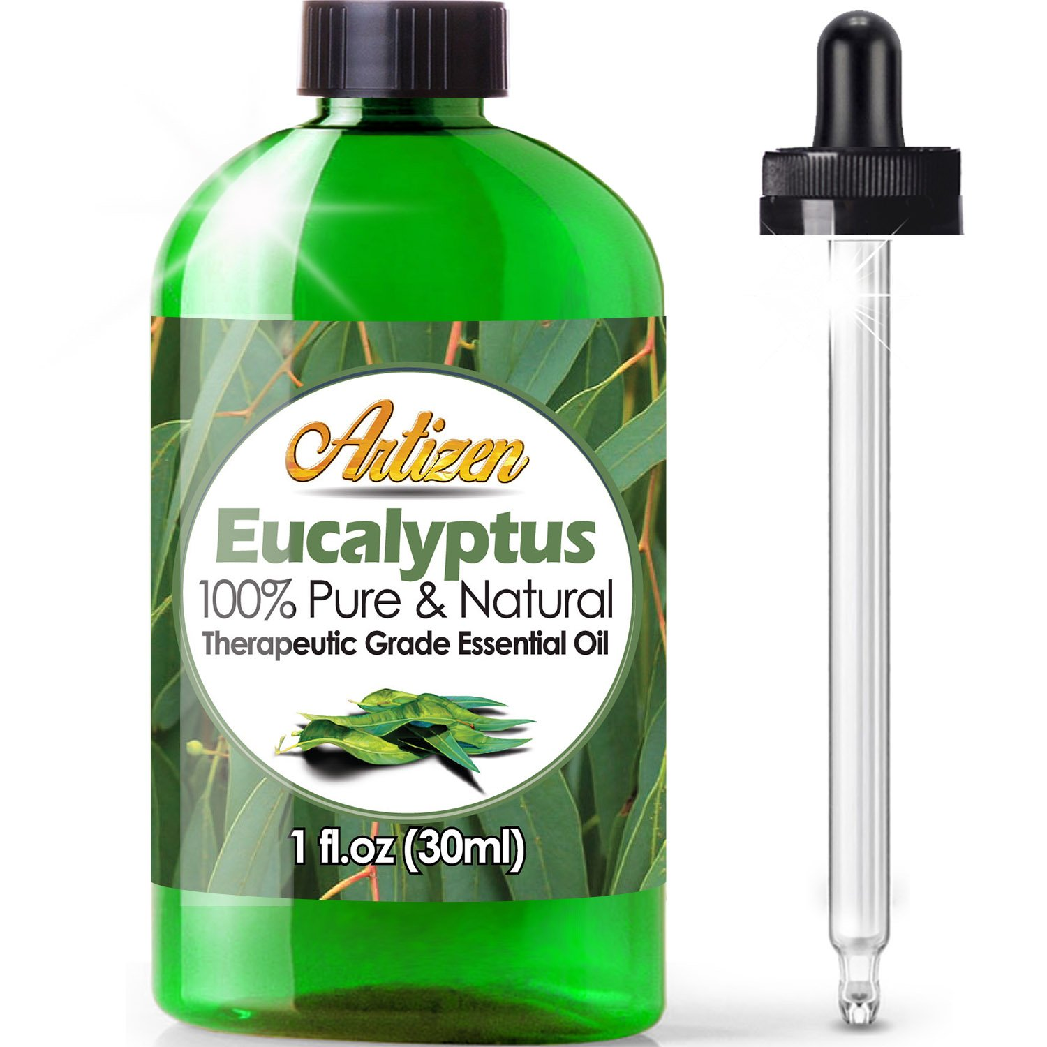 Artizen Eucalyptus Essential Oil (100% Pure & Natural - UNDILUTED) Therapeutic Grade - Huge 1oz Bottle - Perfect for Aromatherapy, Relaxation, Skin Th