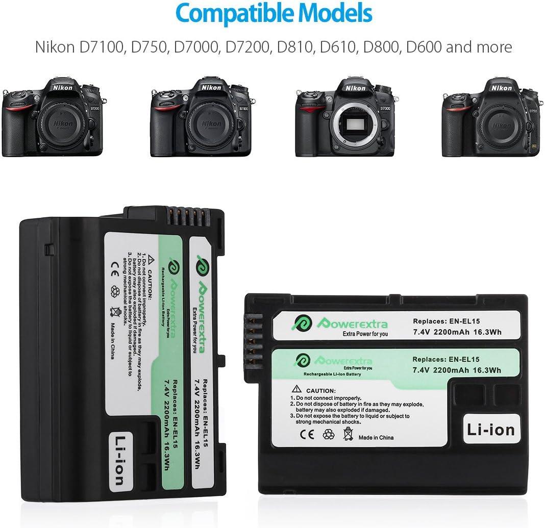 D600 Cargador para Nikon 1 V1 D800E Patona D800 equivalente a EN-EL15 D7000 D7100 y otras