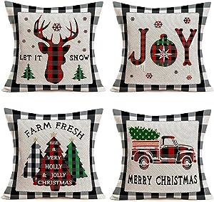"Tlovudori 4Pack Christmas Grey Buffalo Plaid Check Throw Pillow Covers Rustic Farm Truck Merry Christmas Xmas Tree Animal Elk Joy Word Pillowcase Home Decor Cushion Cover for Sofa 18""x18"" (CG-Buffalo)"