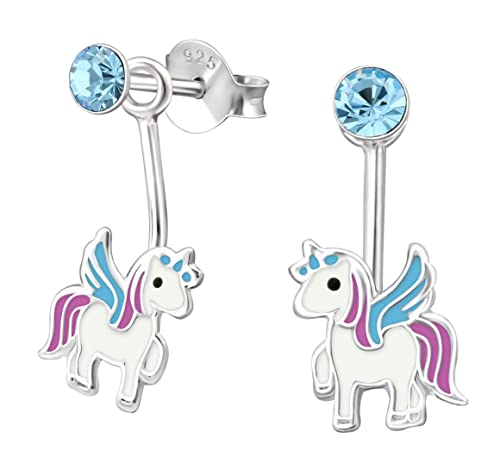 b95e673b1 Amazon.com: Best Wing Jewelry .925 Sterling Silver Unicorn and Blue Crystal  Front and Back Earrings for Children and Teens: Jewelry