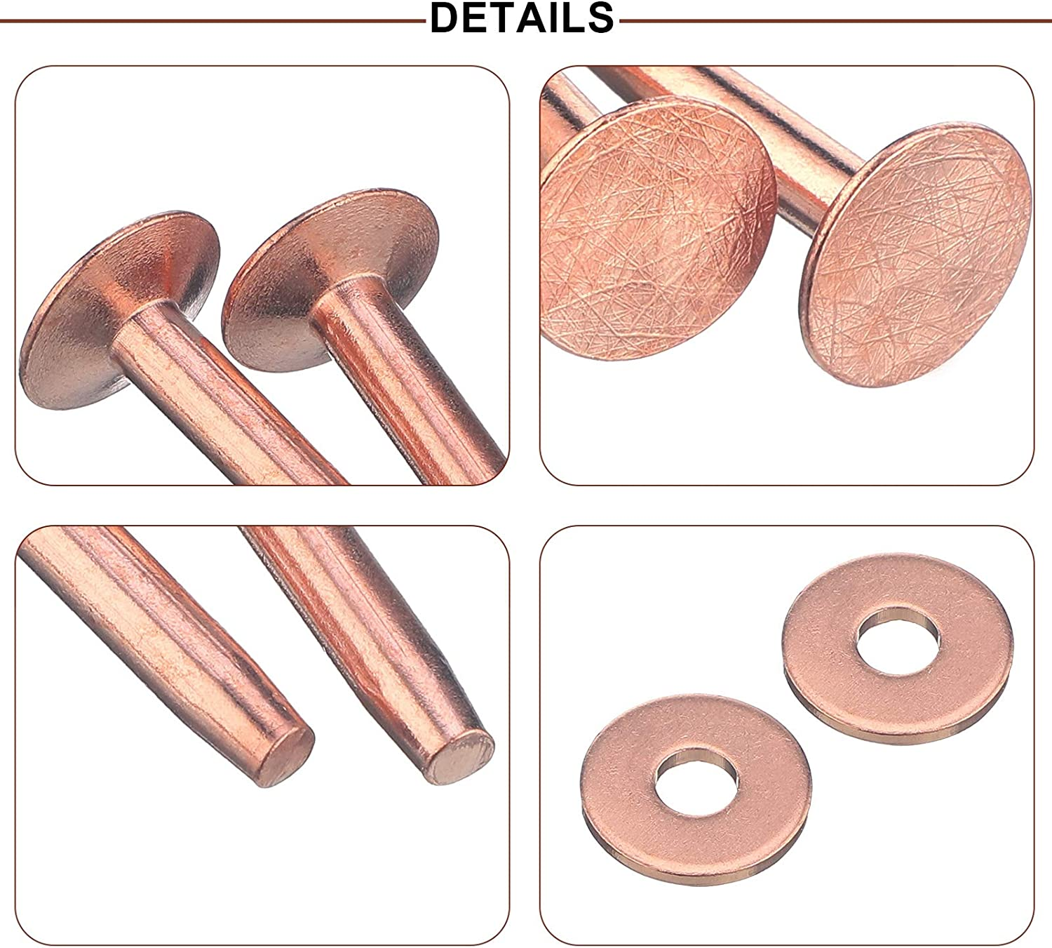 flat head rivets leather fastening includes washers flat top rivets 50 pack rivet leather copper rivets 332 x 316