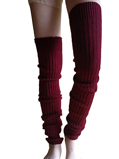 10302c250 Wildestdream Women s Super Long Cable Knit Leg Warmers Boot Cover Socks  Burgundy at Amazon Women s Clothing store