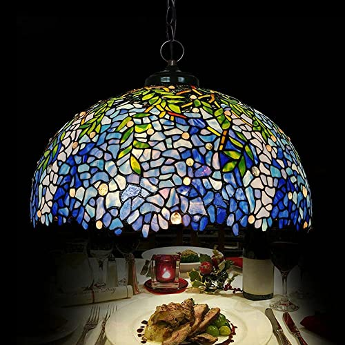QREZ 20 inch Tiffany Style Living Room Chandeliers/Restaurant Dining Room Glass Art Creative Adjustable Hanging Lights Pendant Light