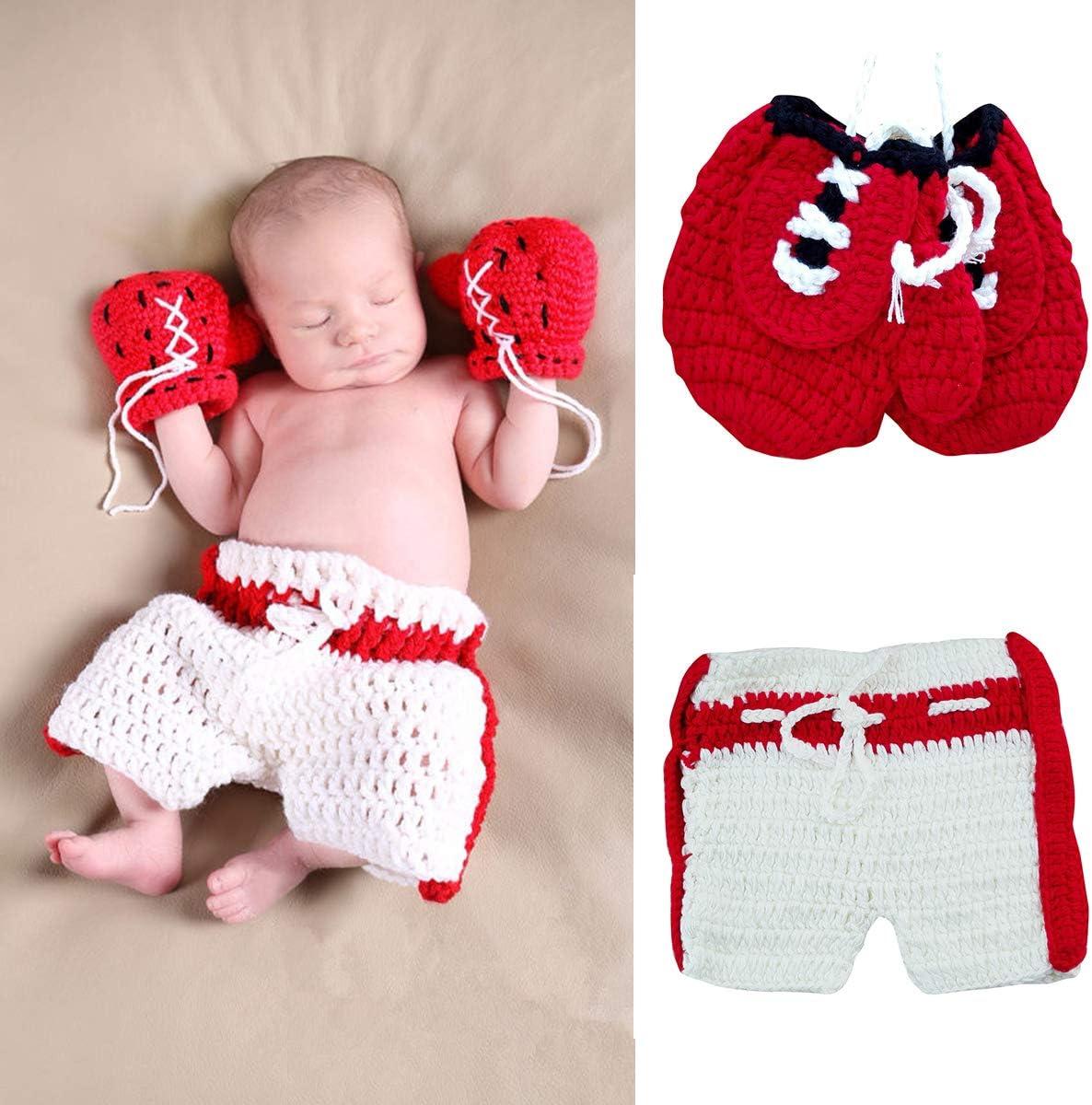 Tianhaik - Guantes de punto de ganchillo para fotografía de bebé recién nacido, para bebés de 0 a 3 meses, color rojo Guantes de boxeo rojos