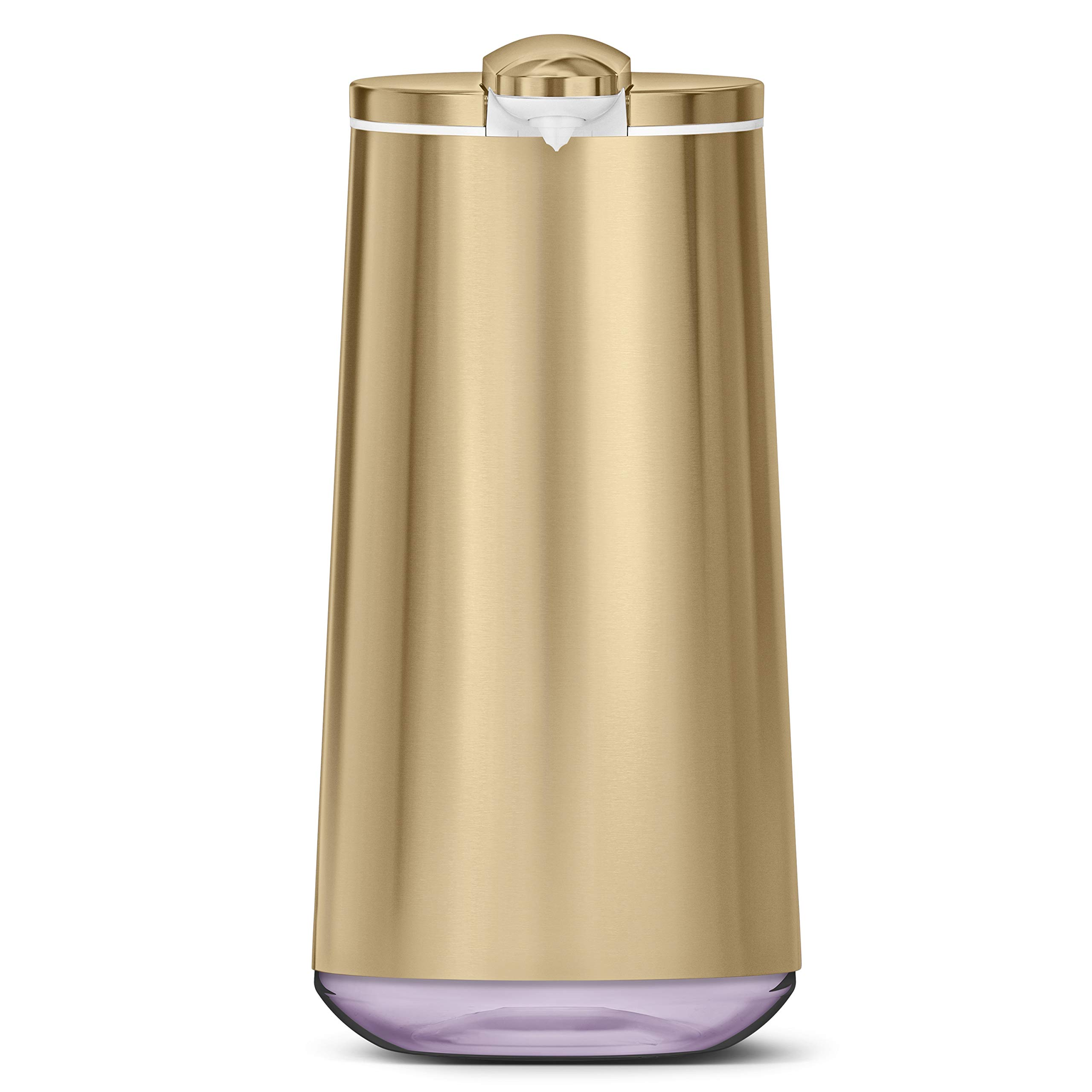 simplehuman Polished Foam Sensor Pump with Lavender Soap Refillable Cartridge, High-Grade Brass Stainless Steel