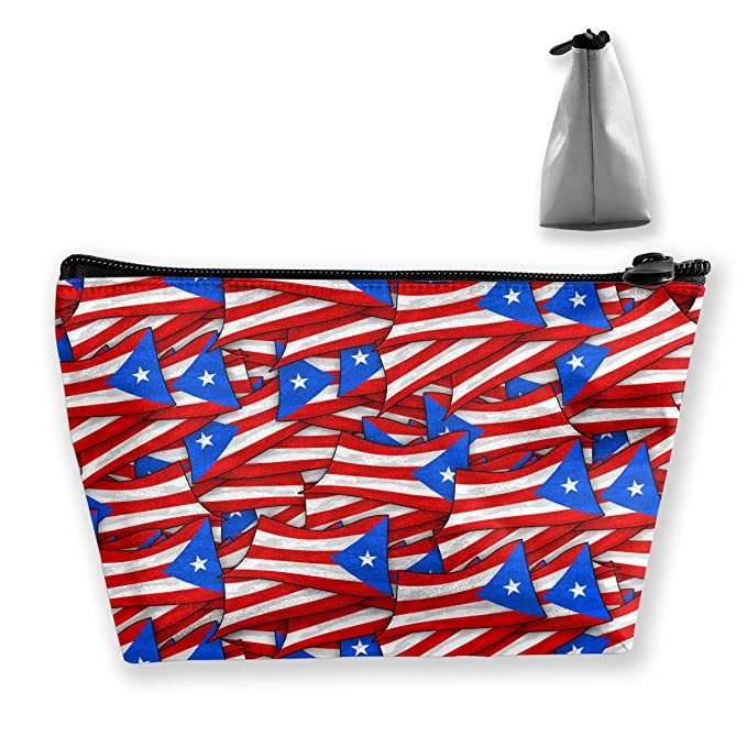 f3c59bf83843 Amazon.com: Women Puerto Rico Flag Wave Collage Travel Cosmetic Bags ...