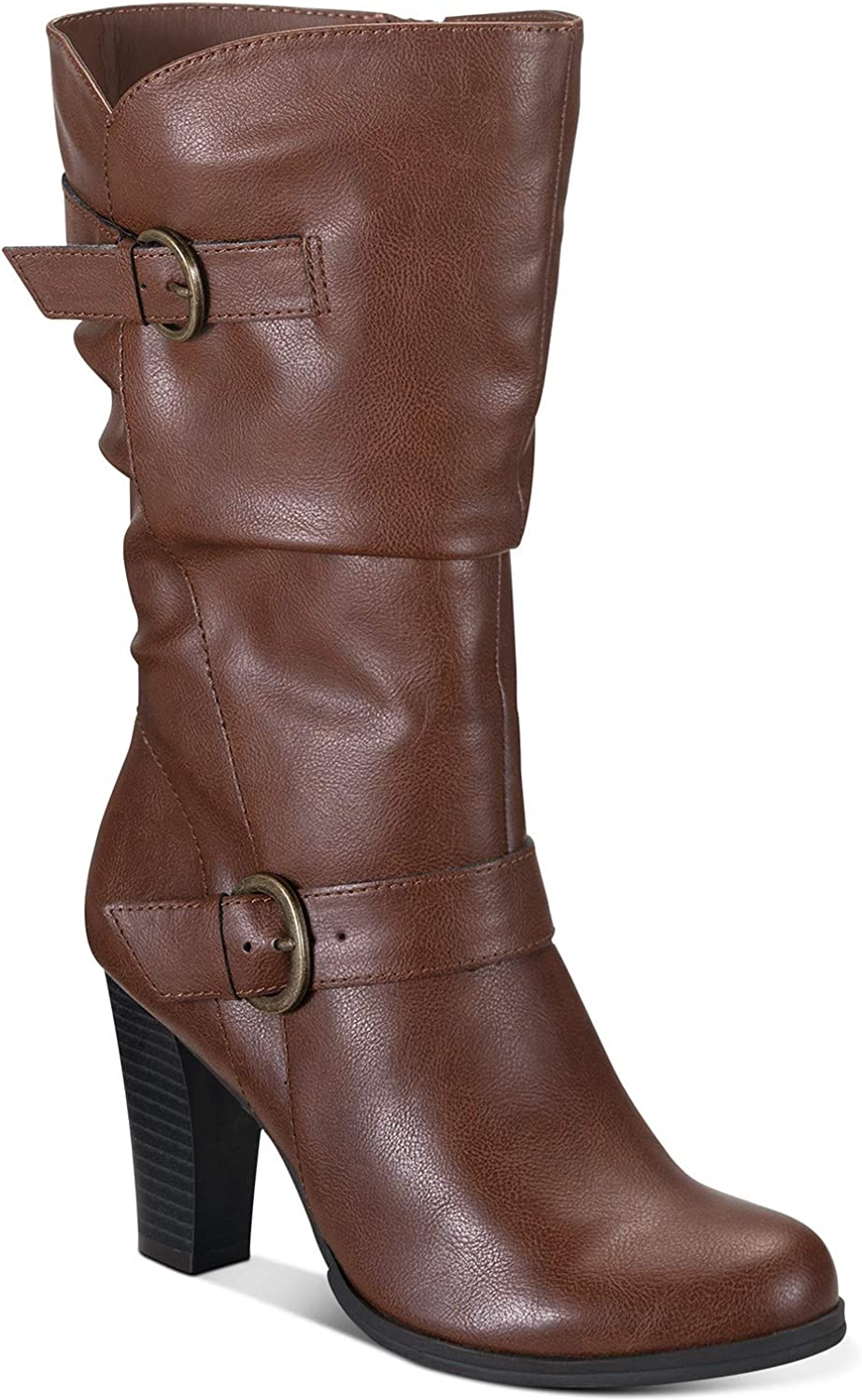 Style & Co. Women's Shoes Sachi Leather Almond Toe Mid-Calf Fashion Boots