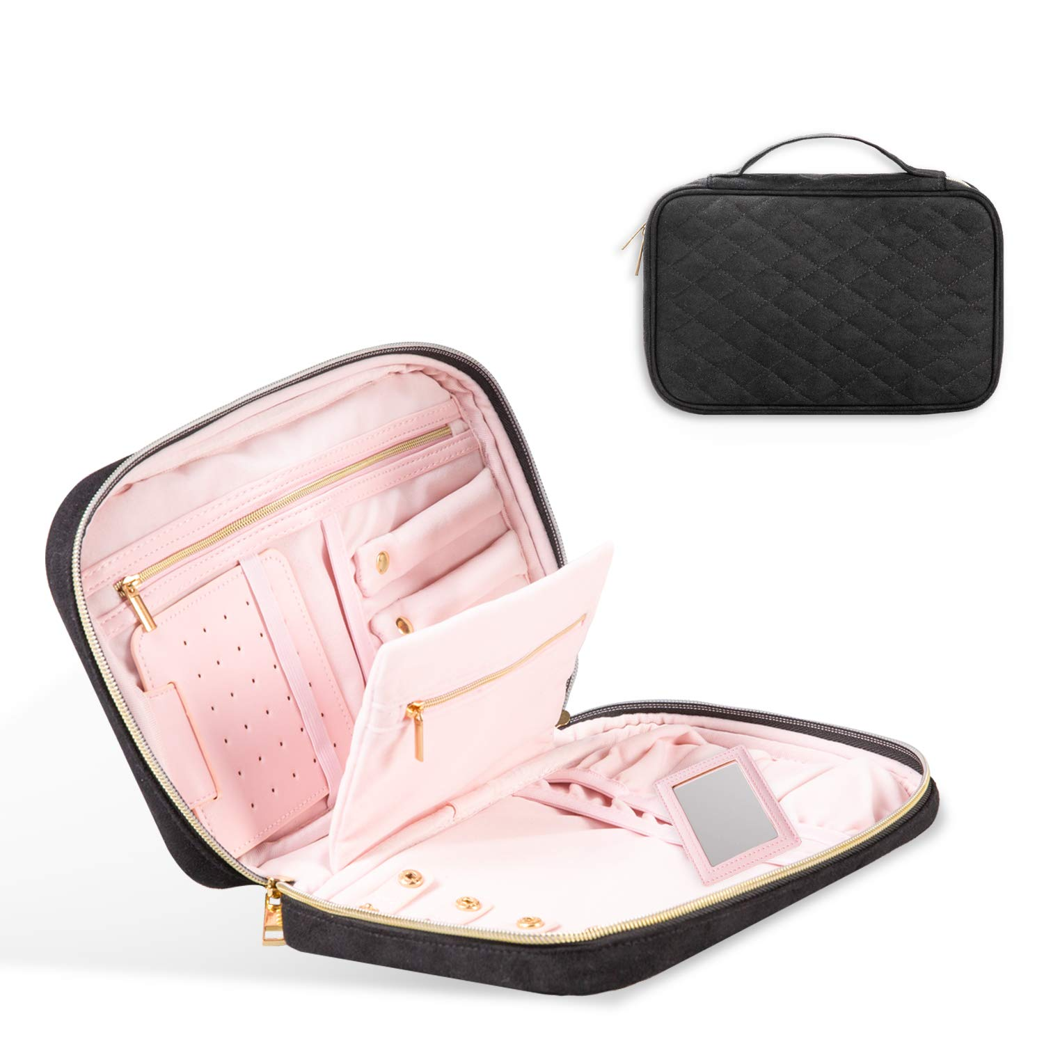 OTBHome Travel Jewelry Organizer Jewelry Travel Case for Women Girls Quilted Compact Jewelry Storage Bag for Earrings Necklaces Rings
