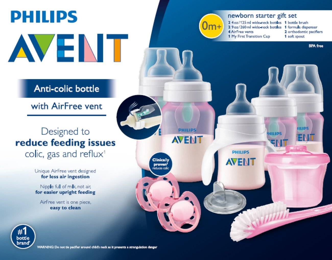 c494c6e6d19 Amazon.com   Philips Avent Anti-Colic Baby Bottle with AirFree Vent  Beginner Gift Set Pink