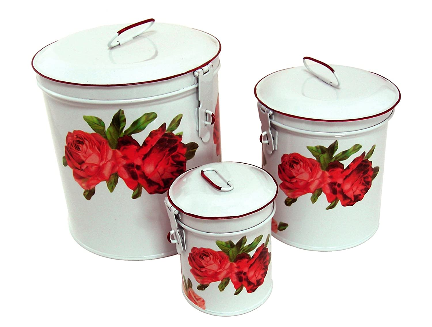 Amazon.com: White Canister Set w/ French Chic Red Roses, Vintage ...