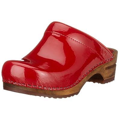 Sanita Wood-Classic Patent open 457012-4 Damen Clogs & Pantoletten Rot (Red