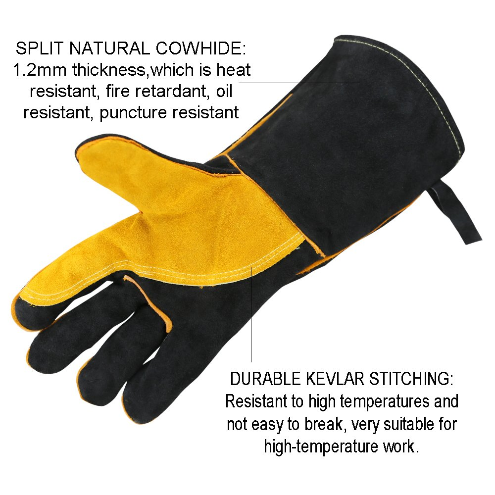 OLSONDEEPAK Welding Gloves with Kevlar Stitching, Genuine Leather Extreme Heat Resistant Glove for Fireplace, Stove,Oven,Grill, BBQ, Mig, Pot Holder, Animal Handling (Large Black(For men)) by OLSON DEEPAK (Image #2)