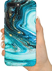 "uCOLOR Case Compatible iPhone 8 Plus/7 Plus 6s Plus/6 Plus Cute Case Turquoise Gold Marble Soft TPU Silicone Shockproof Cover Compatible iPhone 8 Plus/7 Plus/6S Plus/6 Plus(5.5"")"