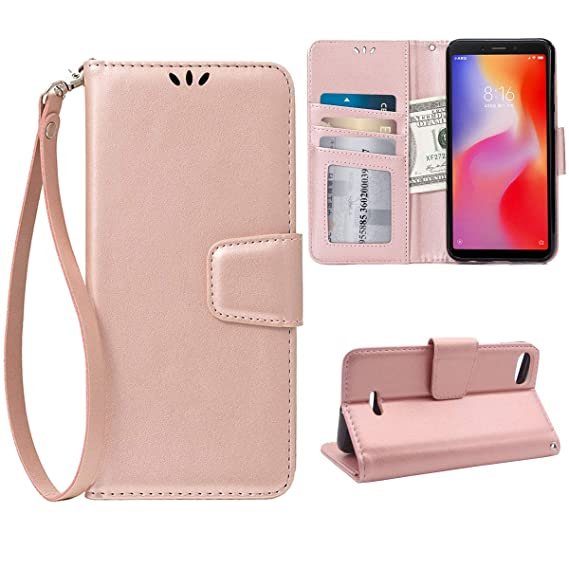 on sale 05445 27ed0 Flip Case for Xiaomi Redmi 6A, Scratch-Proof Leather Wallet Stand Cover  with Card Holder Phone Case Protector for Xiaomi Redmi 6A, Rose Gold