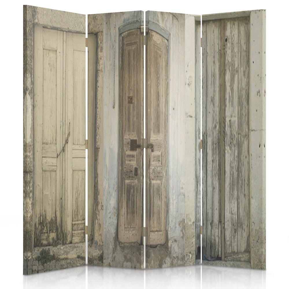 Feeby Frames Biombo impreso sobre lona, tabique decorativo para habitaciones, a doble cara, de 3 piezas, 360° (110x150 cm), PUERTA, EDIFICIO, RÚSTICO, MARRÓN