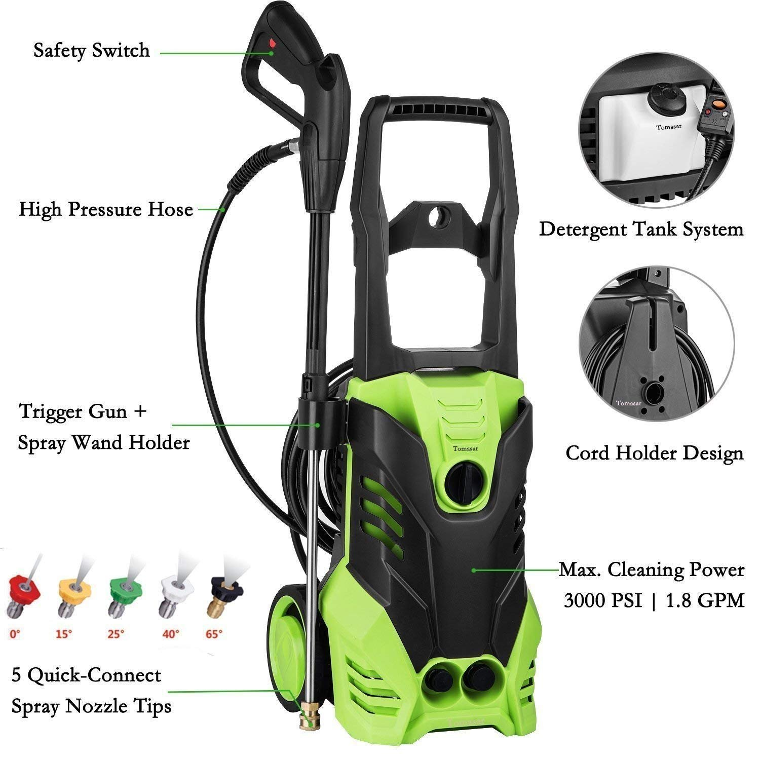 Dorfin Electric High Pressure Power Washer, 3000 PSI Professional Washer Cleaner Machine 5 Quick-Connect Spray Nozzles, 1800W Rolling Wheels, 1.80 GPM